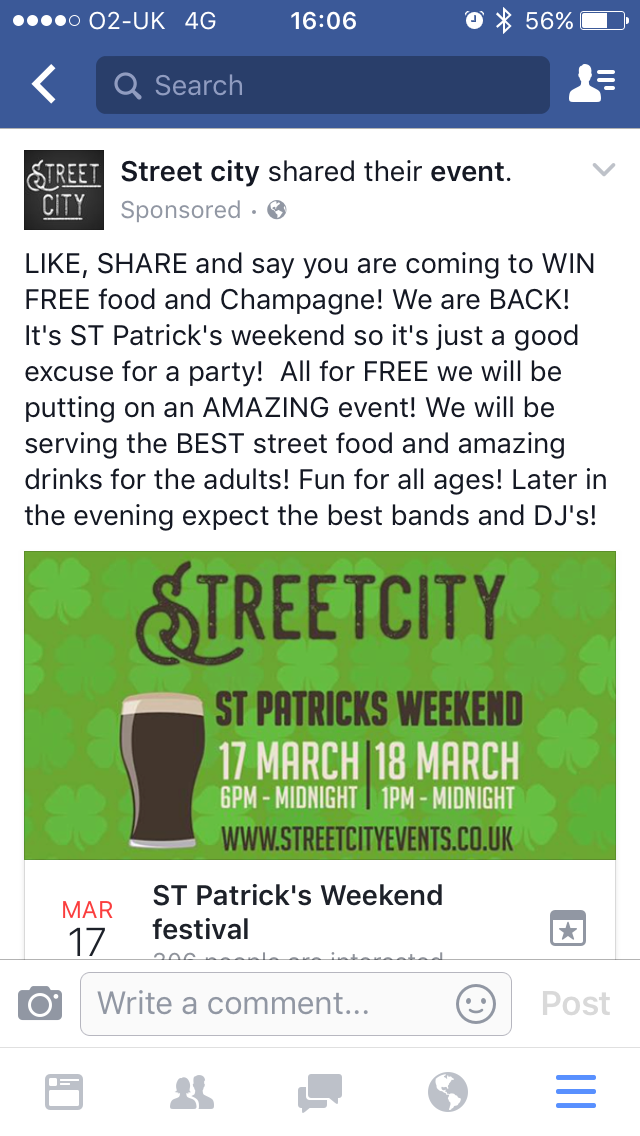 Next Street City Sheffield food event is in honour of Saint Patrick's day …